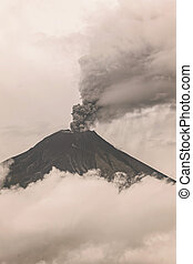 Tungurahua Volcano Spews Molten Rocks And Column Of Gas And...
