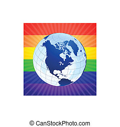 Globe with rainbow background for gay rights Original Vector...