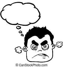black and white angry boy with thought bubble - simple black...