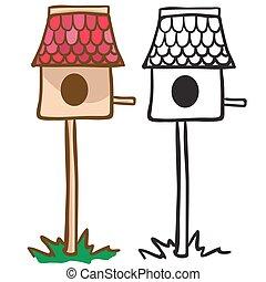 bird house cartoon illustration isolated on white