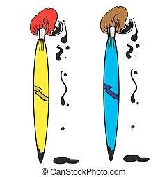 blue and yellow brush