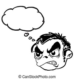 black and white angry boy head with thought bubble - simple...