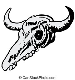 cow skull cartoon doodle