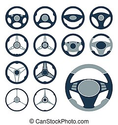 Car Steering Wheel Icons Set