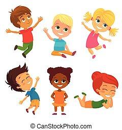 Vector Happy Kids Having Fun