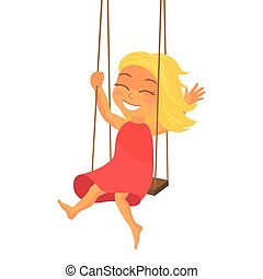 Vector Child - Vector Illustration of Happy a Happy Girl on...