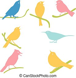 Vector Collection of Bird Silhouettes, colored silhouettes....