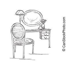 Stuhl gezeichnet  Vektoren von satz, -, hand, tisch, gezeichnet, stuhl - The ...