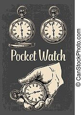 Antique pocket watch. Vector vintage engraved illustration.