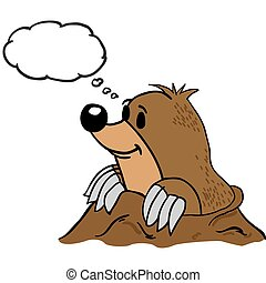 mole with thought bubble cartoon