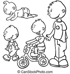 little boy growing up black and white cartoon doodle