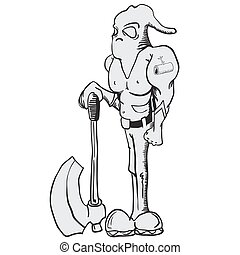 executioner - cartoon illustration of executioner with an...