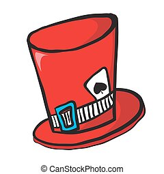 mad hatters hat with ace of spades isolated on white