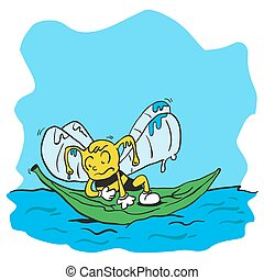drowning bee cartoon