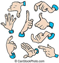 hands - set of hands cartoon illustration