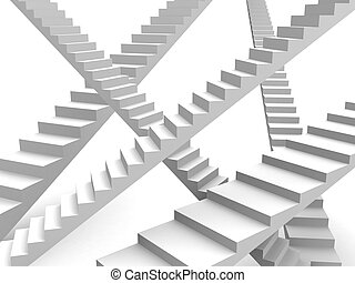 Choices and opportunity concept - Overlapping stairway...
