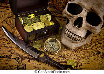 Compass and a map - Pirae treasure. Old brass compass lying...