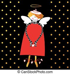happy love angel - Angel with wings and halo. Flying angel...
