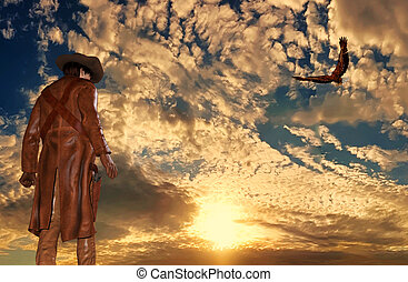 Cowboy at sunset background with an eagle - Illustration of...