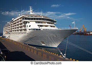 A luxury cruise ship docked in the port