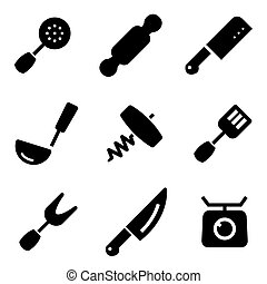 Vector black kitchen and cooking icons set Kitchen and...