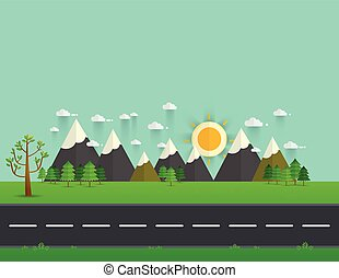 Road in green valley, mountains, hills, clouds and sun on the sky