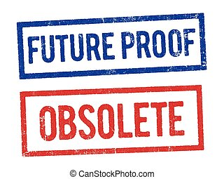 Future proof and Obsolete stamps - Vector illustration of...