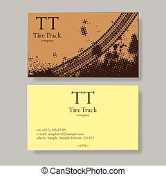 Tire track visit card - Two sides of transportation company...