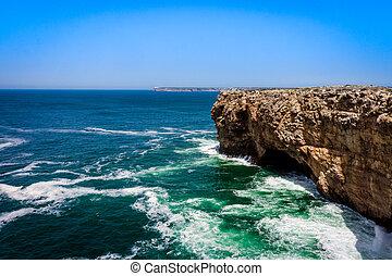 landscape at Sagres. Portugal.  Atlantic ocean .  Algarve