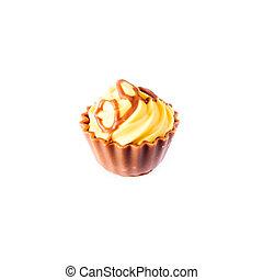 黃色,  Cupcake, 背景, 蛋糕, 白色, 巧克力