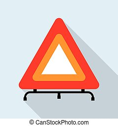 Red reflecting traffic warning triangle - detailed...