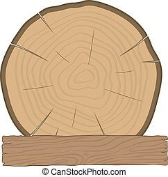 log and wooden board timber label - The log and wooden board...
