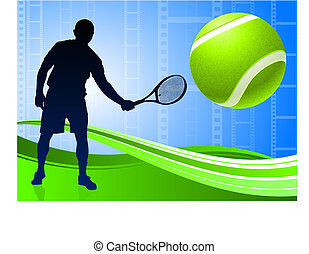 Tennis Player on Abstract Film Reel Background