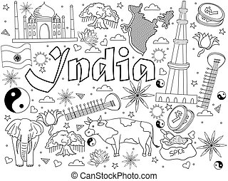 India coloring book vector illustration - India coloring...