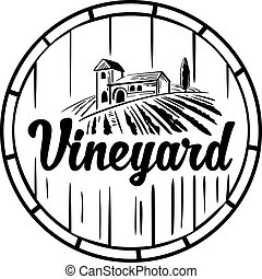 Rural landscape with villa, vineyard, wooden barrel, fields and hills. Black and white vintage vector illustration for label, poster, logotype, icon.