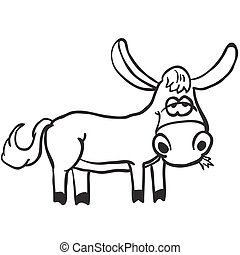simple black and white donkey cartoon