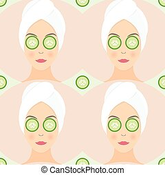 Seamless pattern flat design of a woman with mask of cucumber on her eyes. Vector illustration pattern