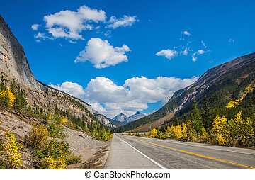 Magnificent mountains - Highway in Banff National Park....