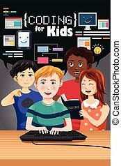Coding for Kids Poster - A vector illustration of coding for...