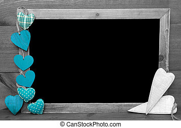 Black And White Blackbord, Turquoise Hearts, Copy Space -...