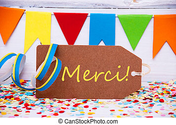 Label With Party Decoration, Text Merci Means Thank You -...