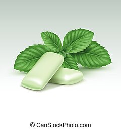 Vector Chewing Gum with Fresh Mint Leaves Isolated on White...