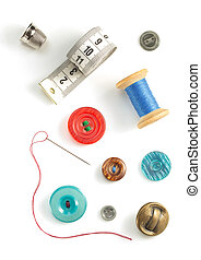 sewing tools and accessories on white - sewing tools and...