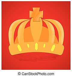 Royal crown - Isolated royal crown on a red background