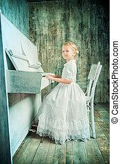 piano impression - Romantic little girl in white dress...
