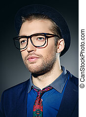 spectacles - Close-up portrait of a modern young man in...