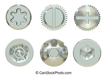 Screw and Bolt heads, 3D rendering isolated on white...