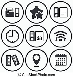 Accounting icons Document storage in folders - Clock, wifi...