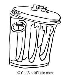 simple black and white garbage can cartoon