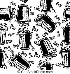 trash can pattern - tresh can seamless pattern